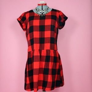 Red and Black Buffalo Checked Drop Waist Tunic